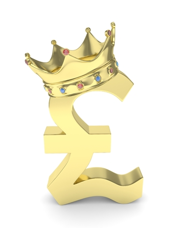 Isolated golden pound sign with crown on white background. British currency. Concept of investment, european market, savings. Power, luxury and wealth. Great Britain, Nothern Ireland.  Crown with gems. 3D rendering.