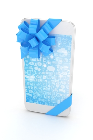fiestas electronicas: White phone with blue bow and blue screen. 3D rendering.
