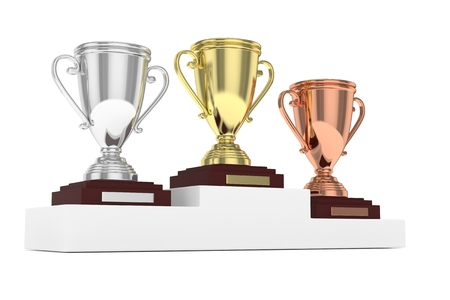 pedestal: Three cups on white pedestal. 3D rendering. Stock Photo