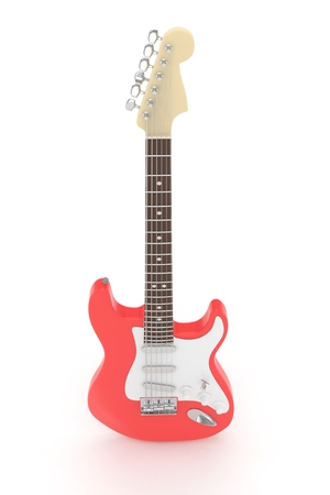indie: Isolated red electric guitar on white background.  Musical instrument for rock, blues, metal songs. 3D rendering.