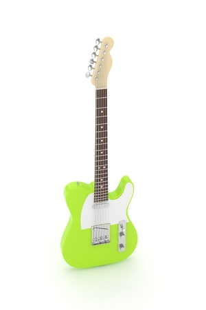 blues: Isolated green electric guitar on white background.  Musical instrument for rock, blues, metal songs. 3D rendering. Stock Photo