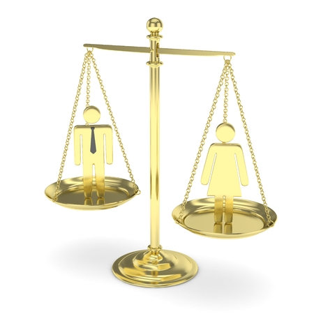 Isolated old fashioned golden pan scale with man and woman on white background. Gender inequality. Equality of sexes. Law issues. Silver model. 3D rendering. Stock Photo