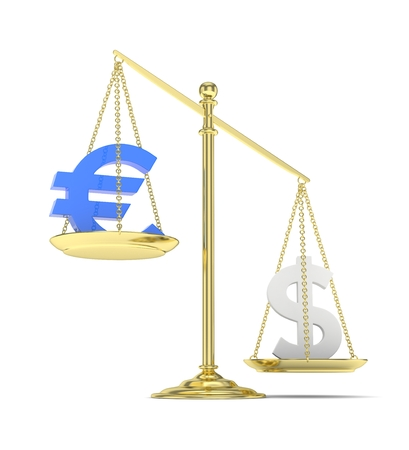 heavier: Isolated old fashioned pan scale with dollar and euro on white background. American and european currency. Dollar is heavier. Silver usd, blue euro. 3D rendering.