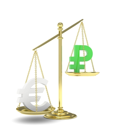 Isolated golden scales with silver euro and green ruble currency. Russian and european finance. Measuring of market stability. 3D rendering.