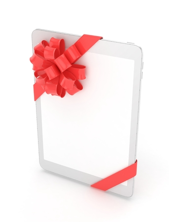 moble: White tablet with red bow and empty screen. 3D rendering.