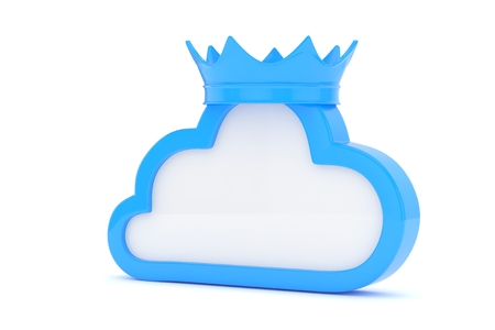 broadband: Isolated blue cloud icon with crown on white background. Symbol of communication, network and technology. Broadband. Online database. 3D rendering. Stock Photo