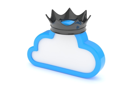 broadband: Isolated blue cloud icon with black crown on white background. Symbol of communication, network and technology. Broadband. Online database. 3D rendering. Stock Photo