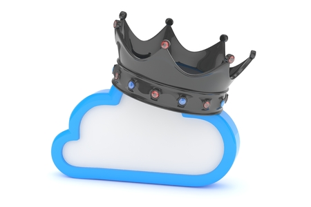 Cloud with black crown on white background. Model of best network, database, cloud storage. Royal technology. 3D rendering.