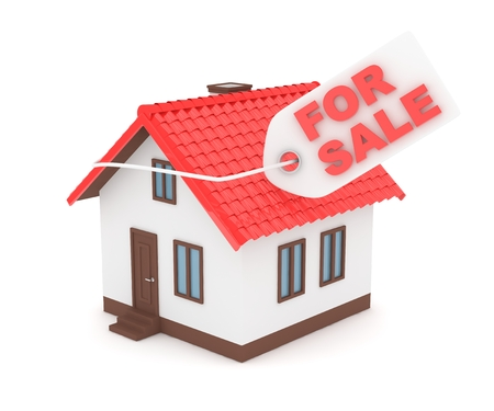 house for sale: Miniature model of house real estate for sale label on white background. 3D rendering.