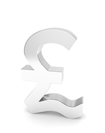 nothern ireland: Isolated silver pound sign on white background. British currency. Concept of investment, european market, savings. Power, luxury and wealth. Great Britain, Nothern Ireland. 3D rendering.