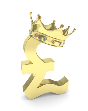 nothern ireland: Isolated golden pound sign with crown on white background. British currency. Concept of investment, european market, savings. Power, luxury and wealth. Great Britain, Nothern Ireland.  Crown with gems. 3D rendering.