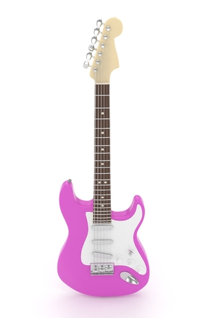 blues: Isolated purple electric guitar on white background.  Musical instrument for rock, blues, metal songs. 3D rendering.