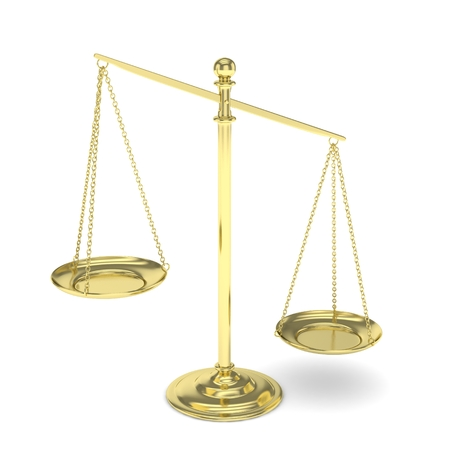 judgement: Isolated white golden scales on white background. Symbol of judgement. Law, measurement, liberty in one concept. 3D rendering.