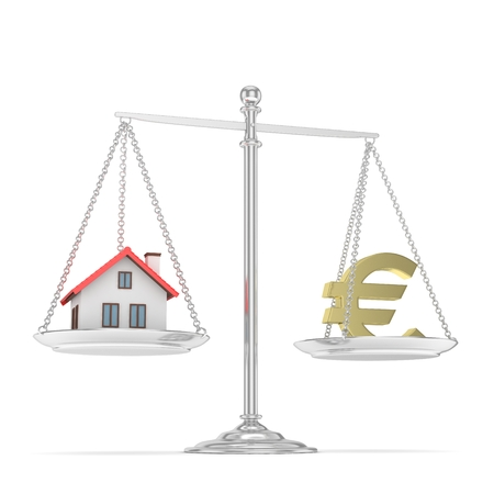 imbalance: Isolated silver scales with golden euro and house on white background. Investment or savings concept. Real estate and currency. 3D rendering.