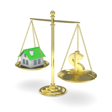 Isolated golden scales with golden dollar and house on white background. Investment or savings concept. Real estate and currency. 3D rendering.