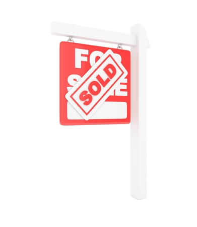 home buyer: For sale sold  red icon real estate on white background. 3D rendering.