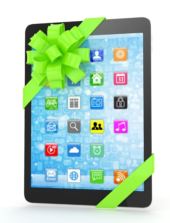 green bow: Black tablet with green bow and icons. 3D rendering.