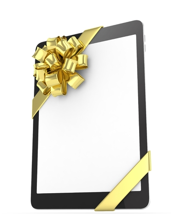 Black tablet with golden bow and empty screen. 3D rendering. Stock Photo