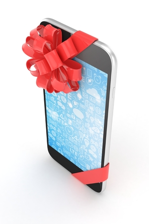 blue screen: Black phone with red bow and blue screen. 3D rendering. Stock Photo