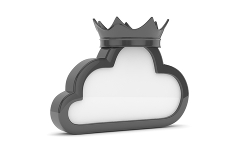 broadband: Isolated black cloud icon with crown on white background. Symbol of communication, network and technology. Broadband. Online database. 3D rendering. Stock Photo