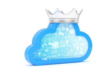 Isolated blue cloud icon with silver crown on white background. Symbol of communication, network and technology. Broadband. Online database. 3D rendering. Stock Photo