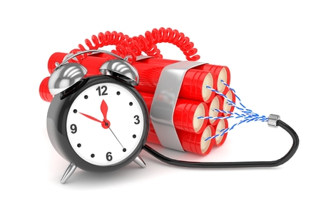 Alarm clock with dynamite. Dangerous weapon. Black alarm clock with bundle of dynamiye sticks. Concept of deadline, violence, lack of patience. 3D rendering.
