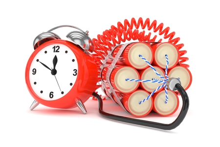 patience: Alarm clock with dynamite. Dangerous weapon. Red alarm clock with bundle of dynamiye sticks. Concept of deadline, violence, lack of patience. 3D rendering.