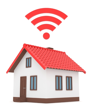 Wifi house on white background. Wireless technology. Internet, phone and radio signal. Network. 3D rendering Stock Photo