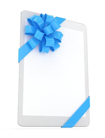 White tablet with blue bow. 3D rendering.