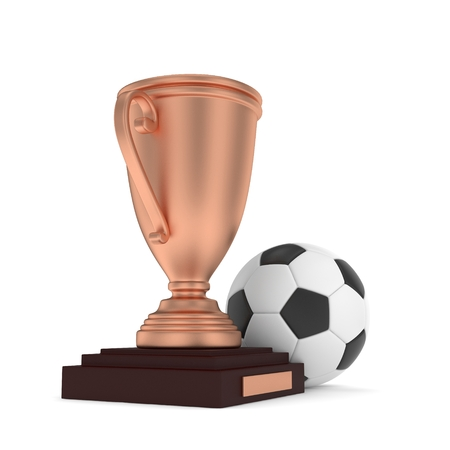 third world: Isolated bronze cup with ball on white background. Soccer and football. Third place trophy. Game and competition. 3D rendering