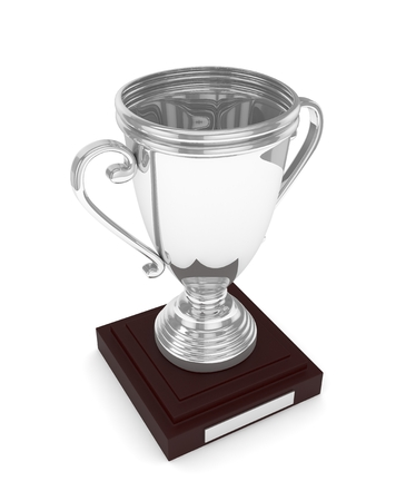 Silver cup on white background. 3D rendering.