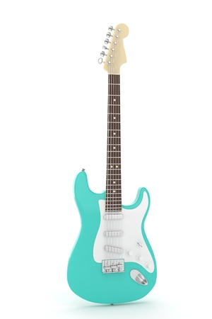 blues: Isolated turquois electric guitar on white background.  Musical instrument for rock, blues, metal songs. 3D rendering.
