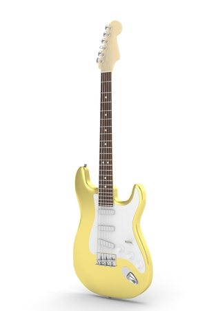 indie: Isolated golden electric guitar on white background.  Musical instrument for rock, blues, metal songs. 3D rendering.