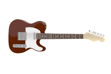 Isolated brown electric guitar on white background. Concert and studio equipment. Musical instrument. Rock, blues style. 3D rendering.