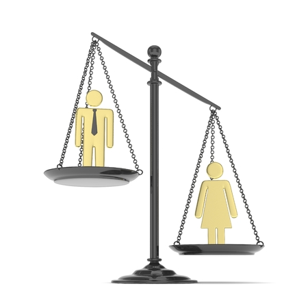 Isolated old fashioned pan scale with man and woman on white background. Gender inequality. Female is heavier. Law issues. Golden model. 3D rendering.