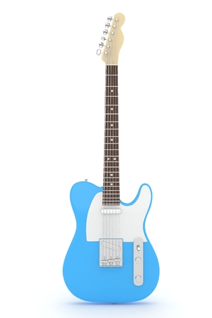 blues: Isolated blue electric guitar on white background.  Musical instrument for rock, blues, metal songs. 3D rendering.