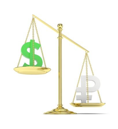 rouble: Isolated old fashioned pan scale with dollar and ruble on white background. American and russian currency. Ruble is heavier. Silver rouble, green usd. 3D rendering. Stock Photo
