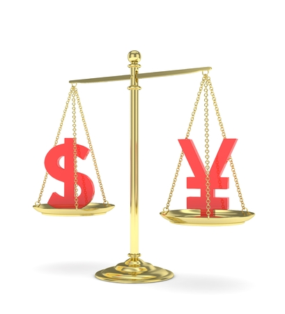 Isolated old fashioned pan scale with dollar and yuan,yen on white background. American and chinese and japanese currency. Currency equality. red money. 3D rendering.