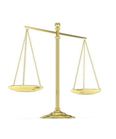 value system: Isolated golden scales on white background. Symbol of judgement. Law, measurement, liberty in one concept. 3D rendering.