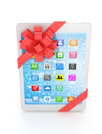 moble: White tablet with red bow and icons. 3D rendering.