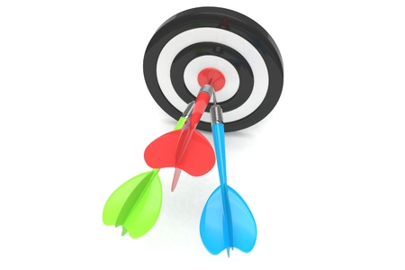 dart board: Three multicolor arrows darts in center. 3d rendering. Stock Photo