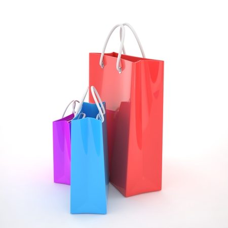 shoping bag: Paper Shopping Bags isolated on white background. 3d rendering.