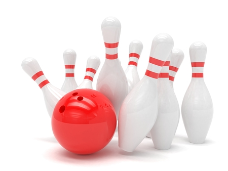 Bowling ball and skittles isolated. 3d rendering.