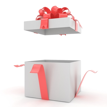 an open space: open gift box with bows isolated on white. 3d rendering.