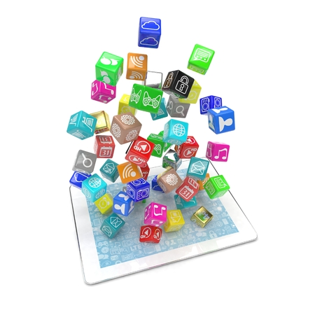 icon app fall in tablet pc. 3d rendering. Stock Photo