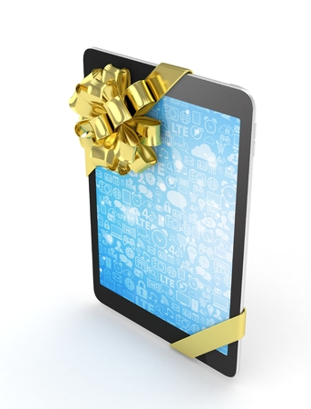 blue screen: Black tablet with golden bow and blue screen. 3D rendering.