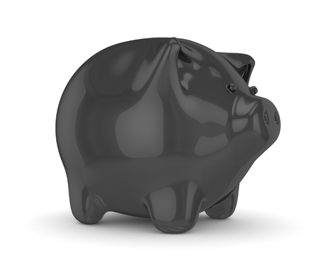 shiny black: Black shiny piggy bank on white background. 3D rendering.