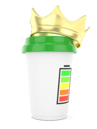 energize: Coffee cup with golden crown and battery on white background. 3D rendering. Stock Photo