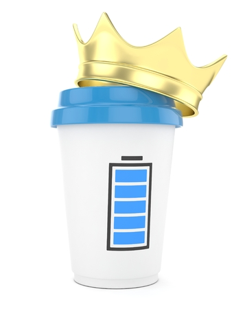 Coffee cup with golden crown and battery on white background. 3D rendering. Stock Photo