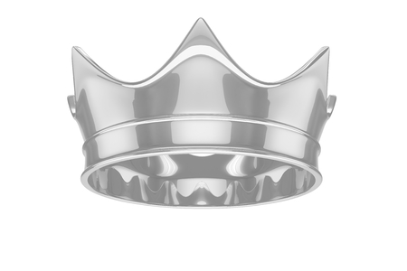antiques: Silver royal simple crown on white. 3D rendering.